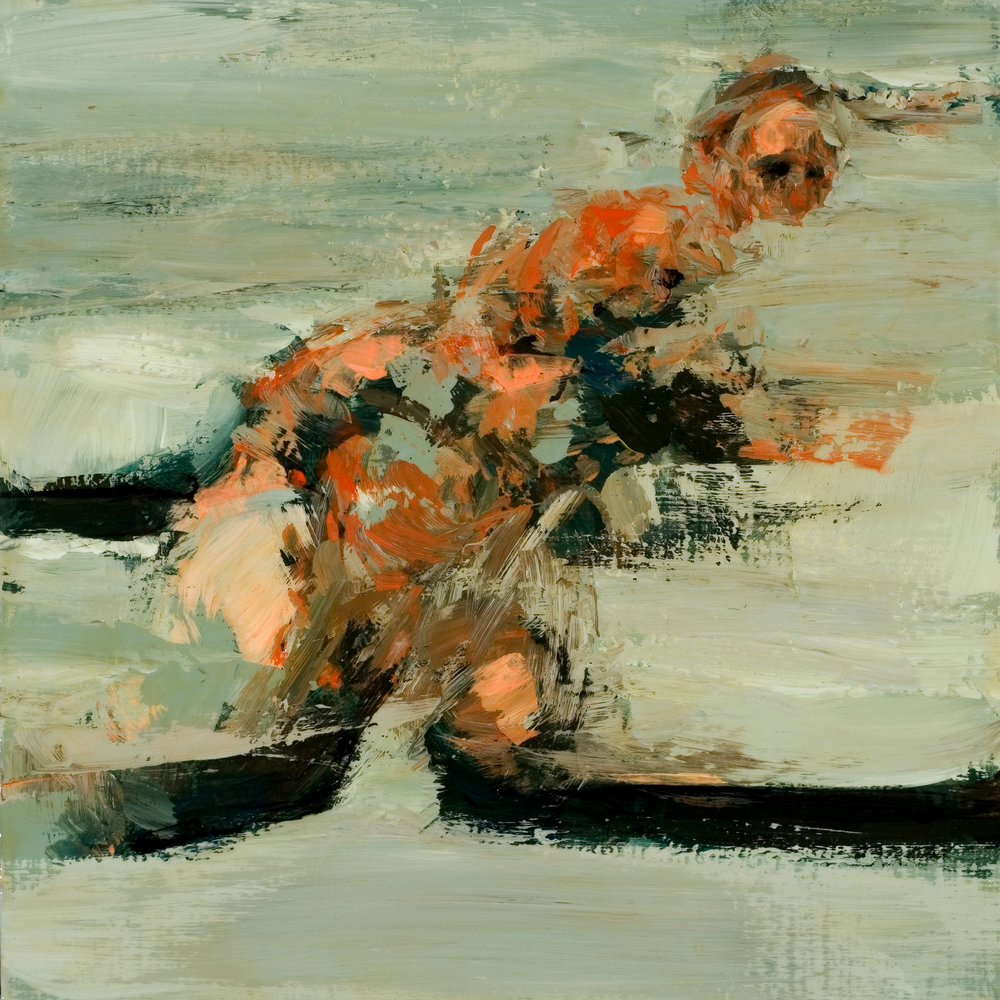 "Rough, acrylic & oil on board, 8"" x 8"" x 2"", 2010"