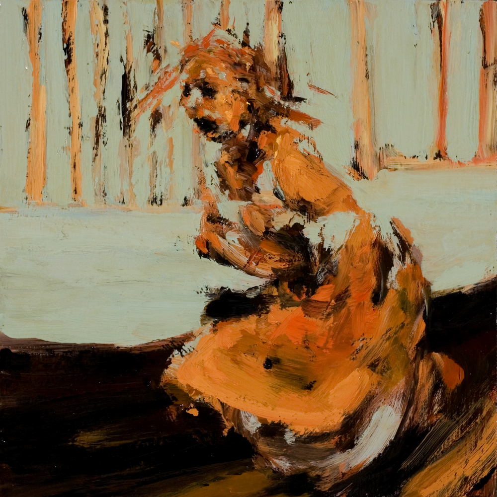 "Pit, oil on board, 8"" x 8"" x 2"", 2010"