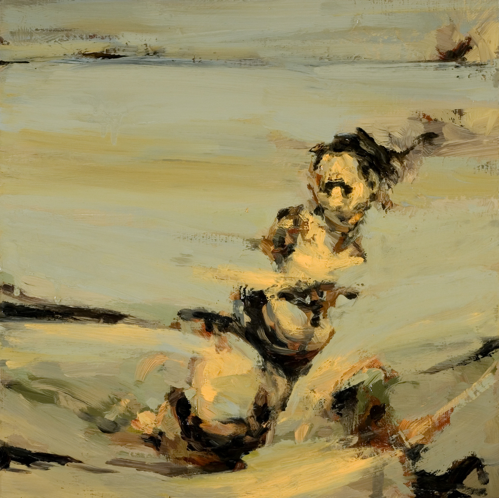 "Struggle, oil on board, 12"" x 12"" x 2"", 2010"