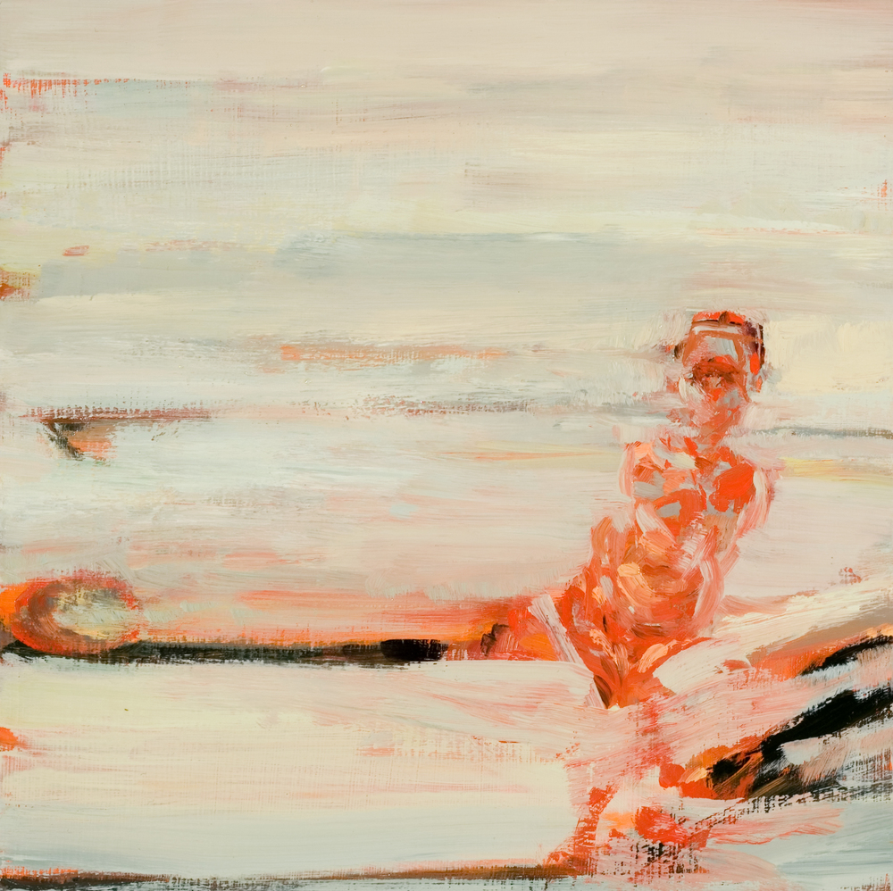 "Fissure, oil on board, 12"" x 12"" x 2"", 2009 (SVA residency)"