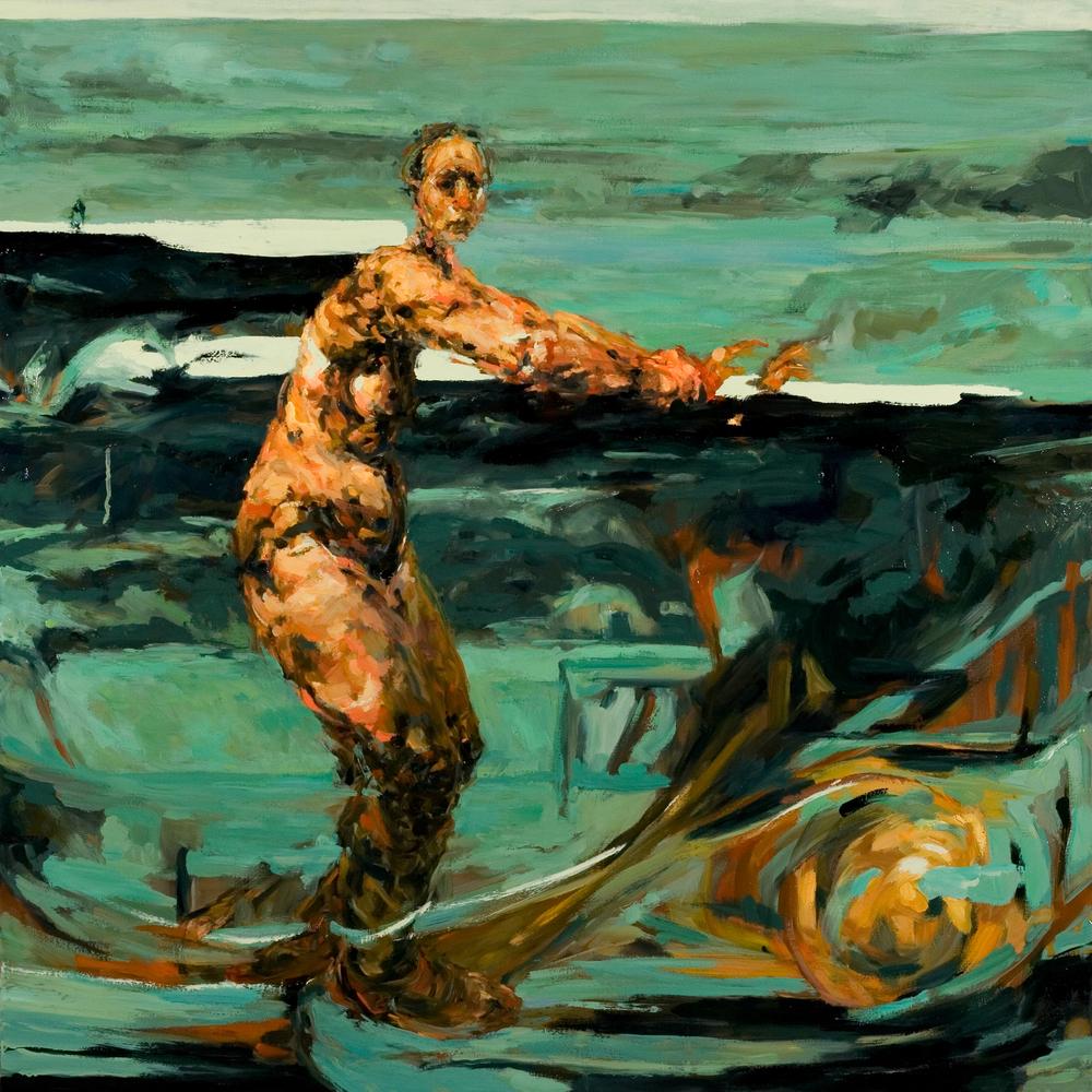 "Untitled (tumult), oil on canvas, 46"" x 46"" x 2"", 2009"