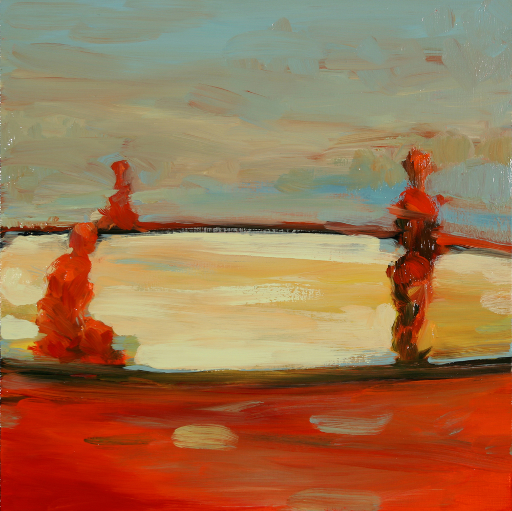"No Godot, oil on board, 12"" x 12"" x 2"", 2008"
