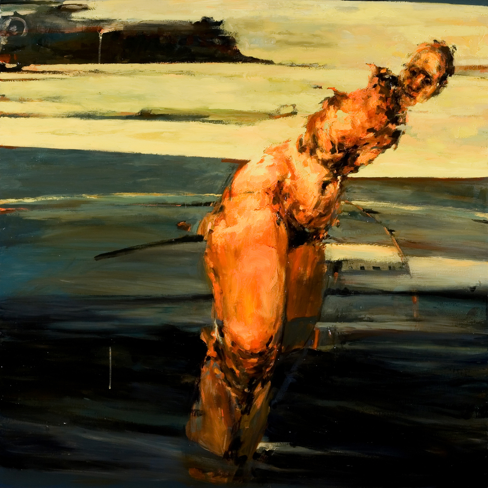 "Damages, oil on canvas, 42"" x 42"" x 2"", 2007"