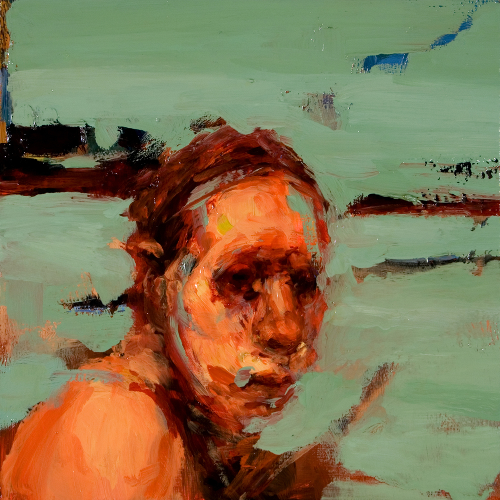 "Fugue, oil on board, 8"" x 8"" x 2"", 2007"