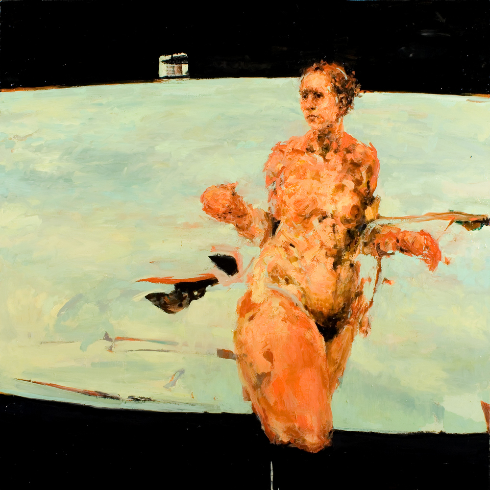 "Shift Work, oil on canvas, 46"" x 46"" x 2"", 2006"