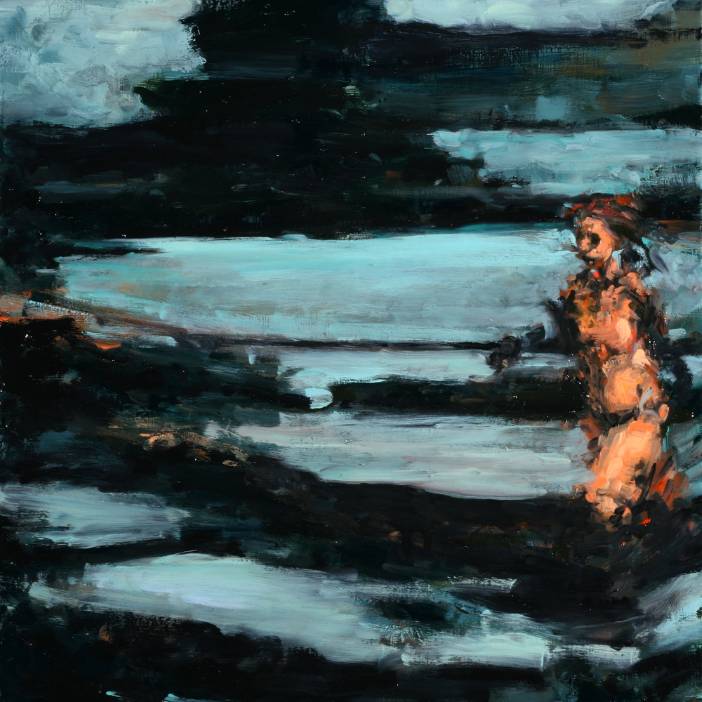 "Reprieve (detail), oil on board, 16"" x 16"" x 2"", 2013"