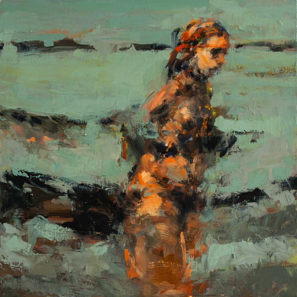"Night Run, oil on board, 8"" x 8"" x 2"", 2014"