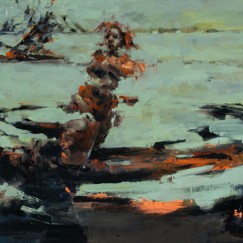 "Aftermath, oil on board, 12"" x 12"" x 2"", 2014"