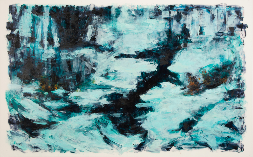 "'Processing the Scape: Crevasse', oil and acrylic on Mylar, 25"" x 40"", 2016"