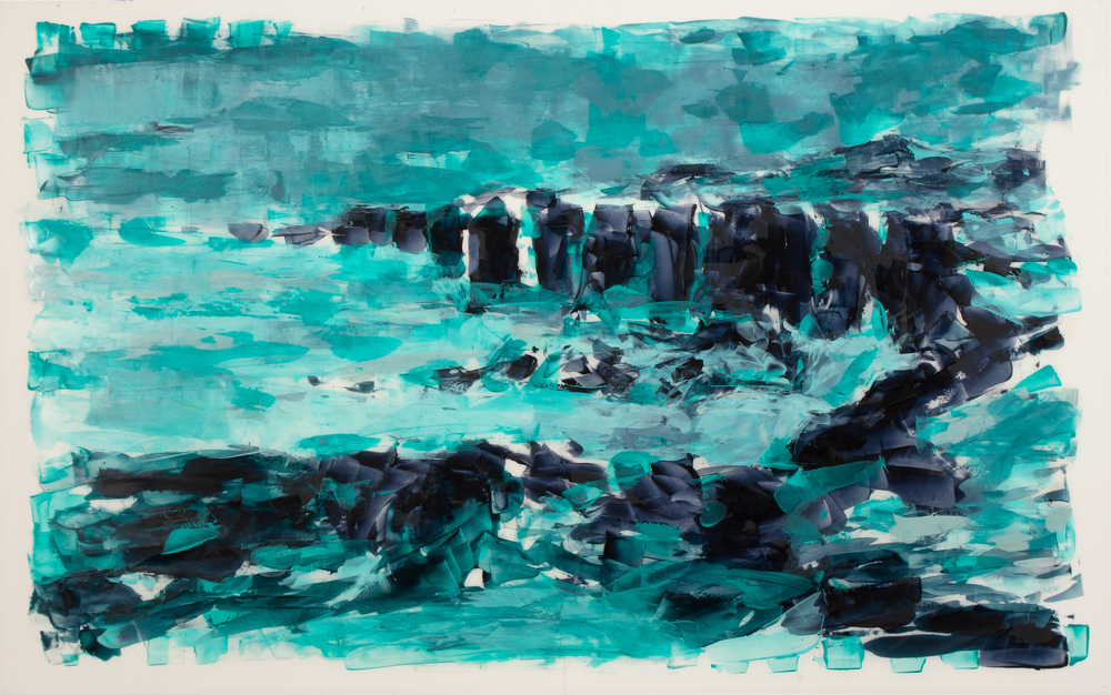 "'Processing the Scape: Basalt Study', oil and acrylic on Mylar, 25"" x 40"", 2016"