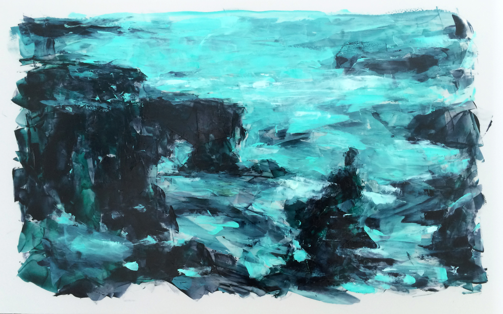 "'Processing the Scape: Svörtuloft Cliffs', oil and acrylic on Mylar, 6.25"" x 10"", 2016"