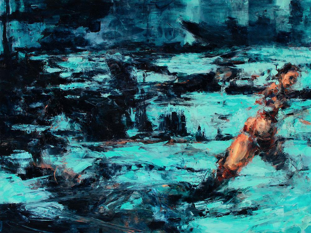 "'Arctic Pull', oil on board, 18"" x 24"" x 2"", 2016"