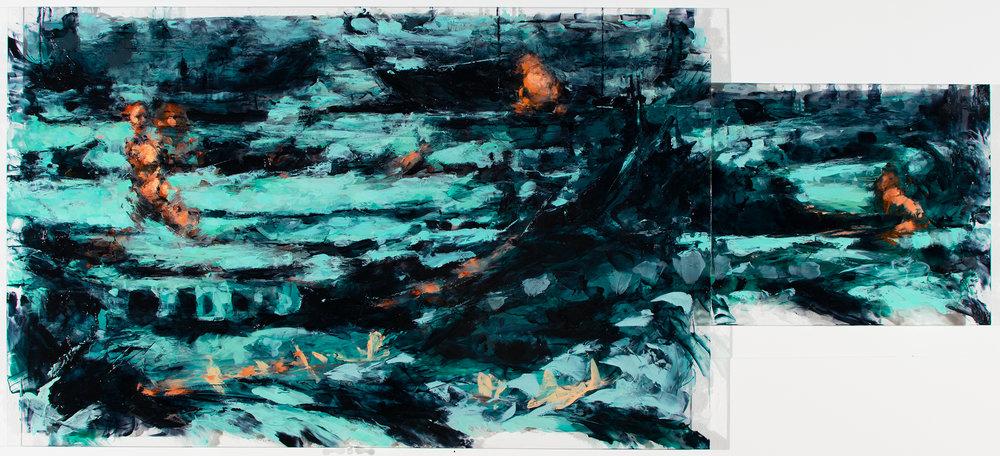 "'Sightings', oil and acrylic on plexiglass, 20"" x 44 3/4"", 2017"