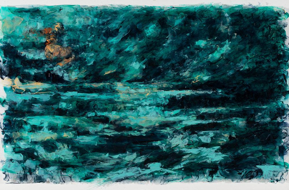 "'Tempest', oil and acrylic on plexiglass, 20"" x 32"", 2016"