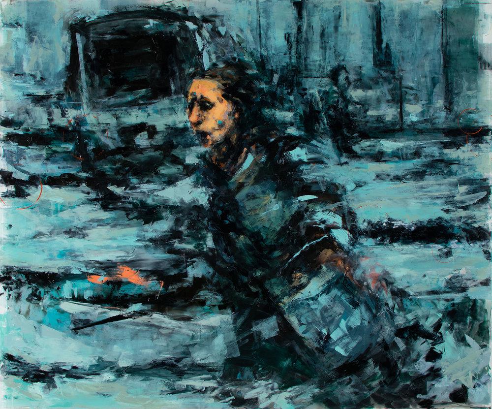 """'Dash (Siege of Sarajevo)', oil on plexiglass, 30"""" x 36"""" x 1/2"""", 2017"""