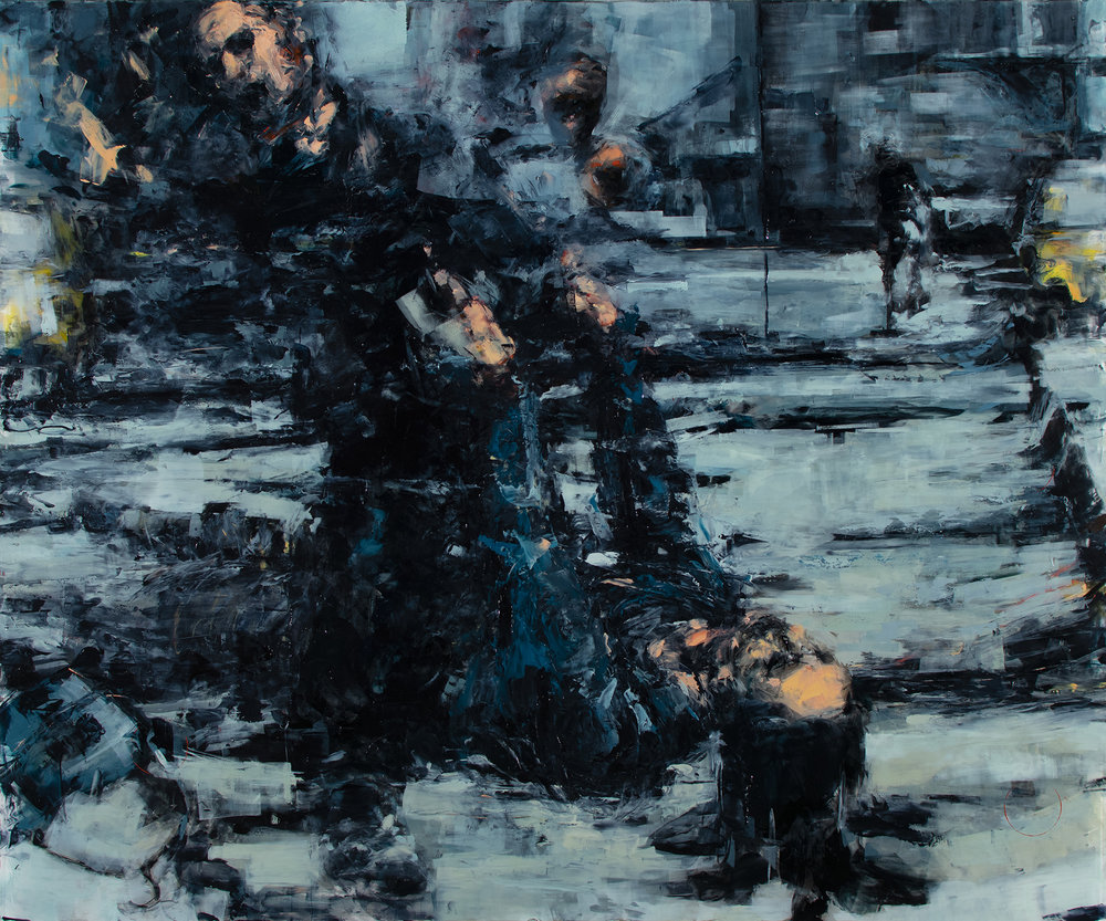 "'Raw II (Siege of Sarajevo)', oil on plexiglass, 30"" x 36"" x 1/2"", 2018"