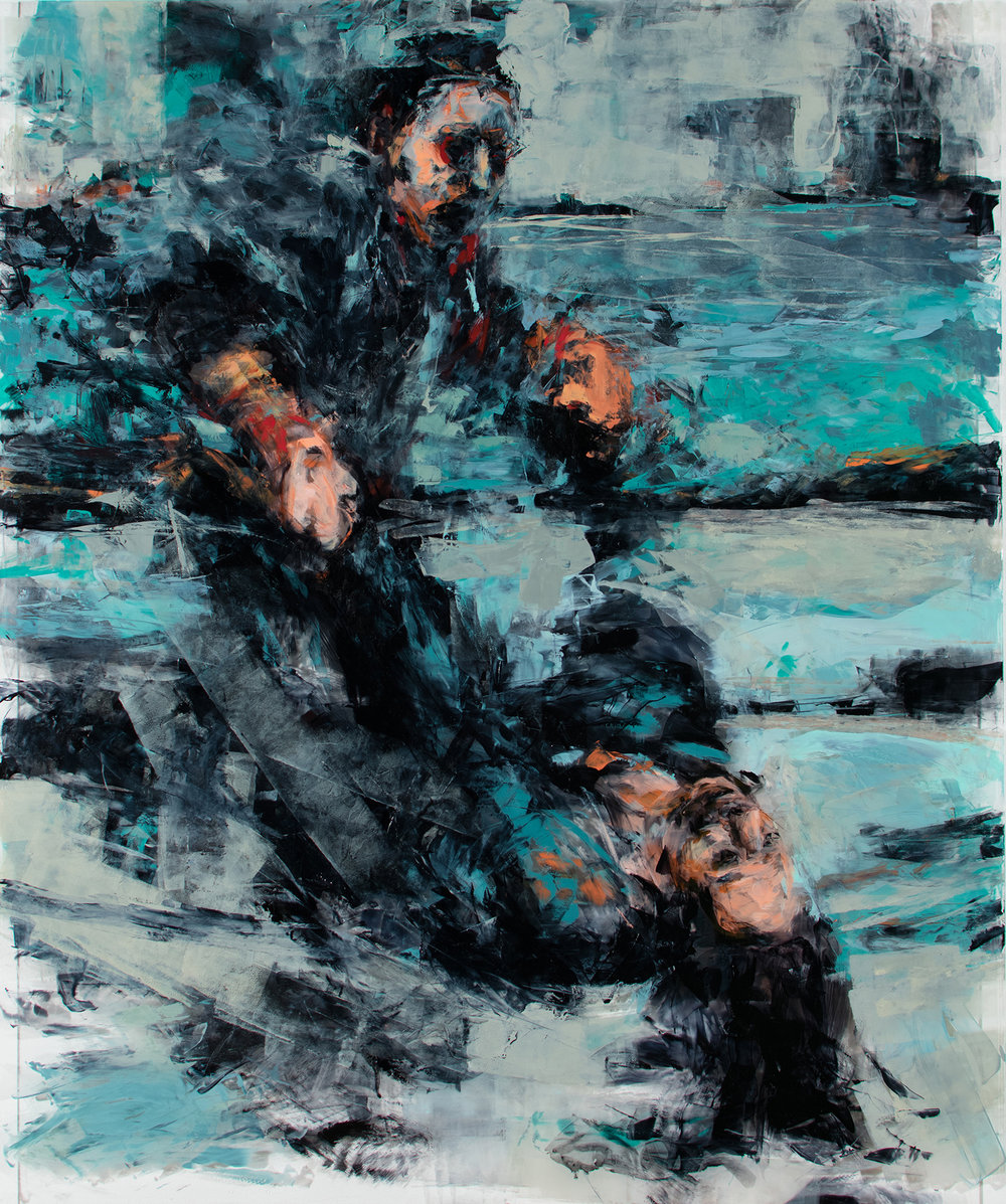 "'Raw (Siege of Sarajevo)', oil on plexiglass, 36"" x 30"" x 1/2"", 2018"