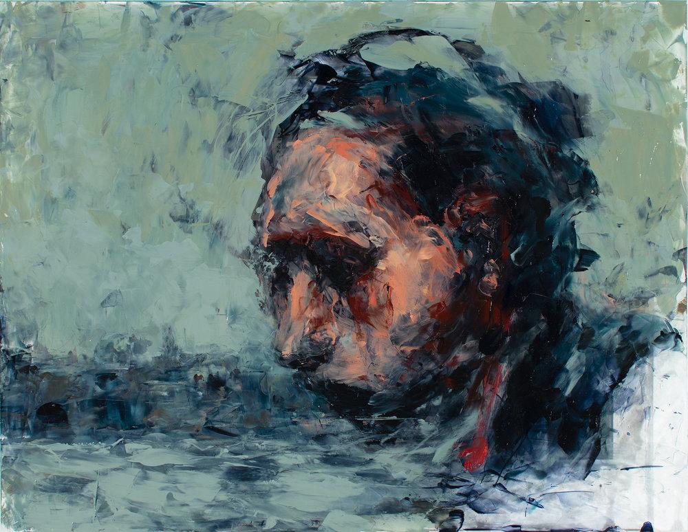 """'Witness', oil and acrylic on plexiglass, 11"""" x 14"""", x 1/2"""", 2018"""