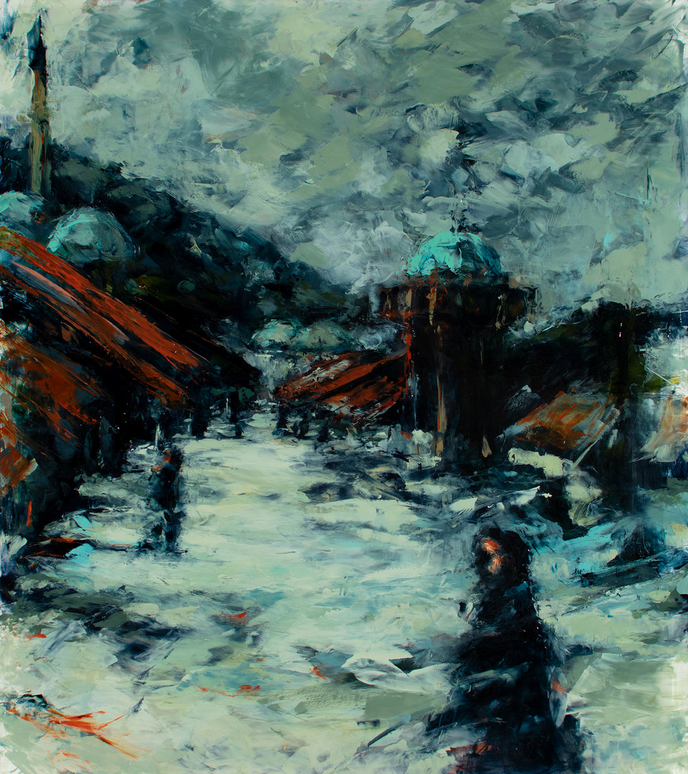 "'Old Town Sarajevo II', oil on plexiglass, 16"" x 17 1/2"", x 1/2"", 2018"
