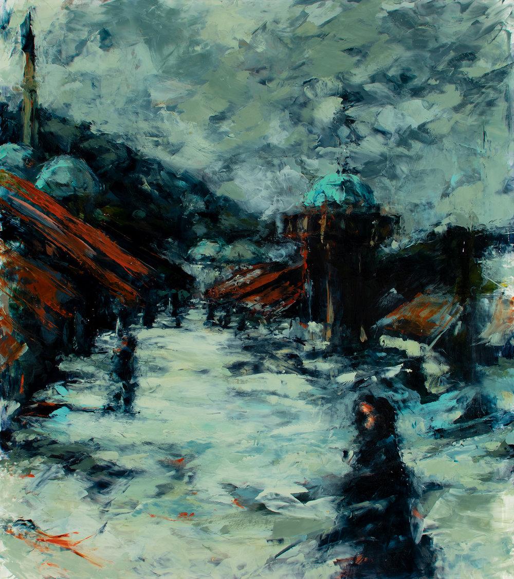 "'Old Town Sarajevo II', oil on plexiglass, 16"" x 17 1/2"", x 1/2"", 2018"