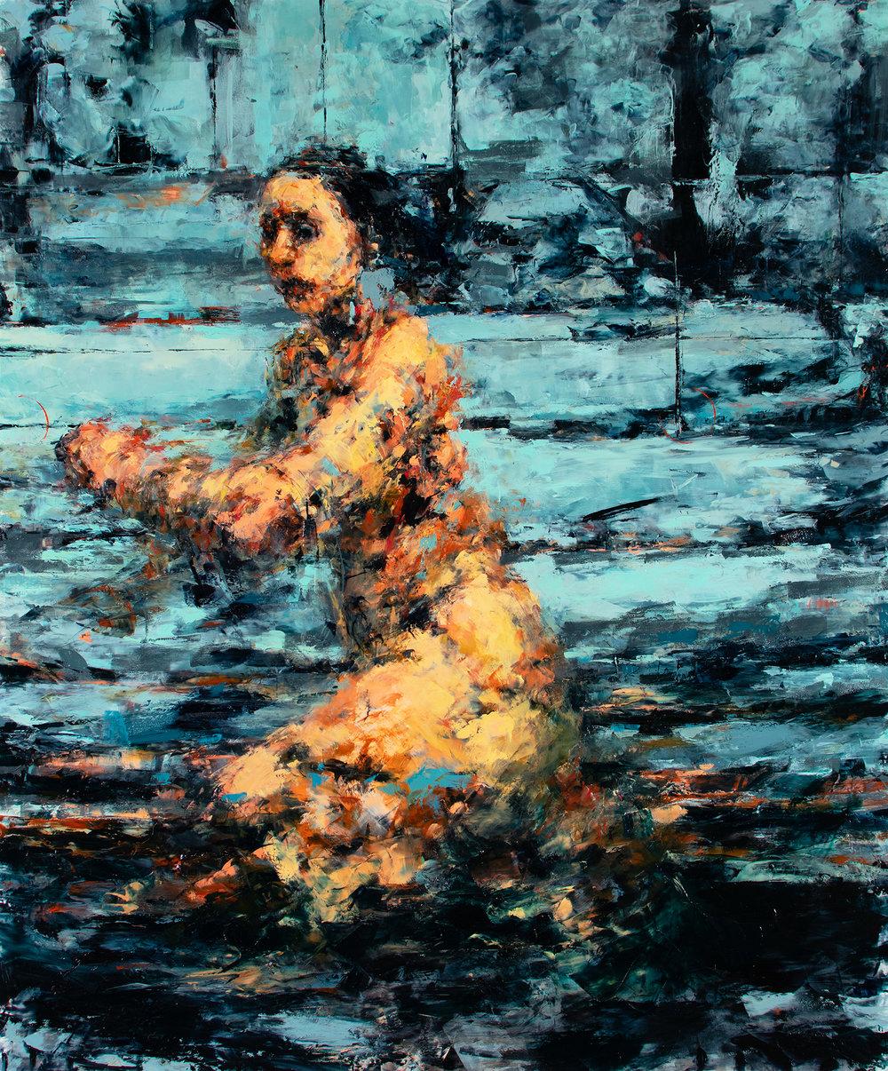 """'Persistence', oil on plexiglass, 36"""" x 30"""" x 1/2"""", 2018"""