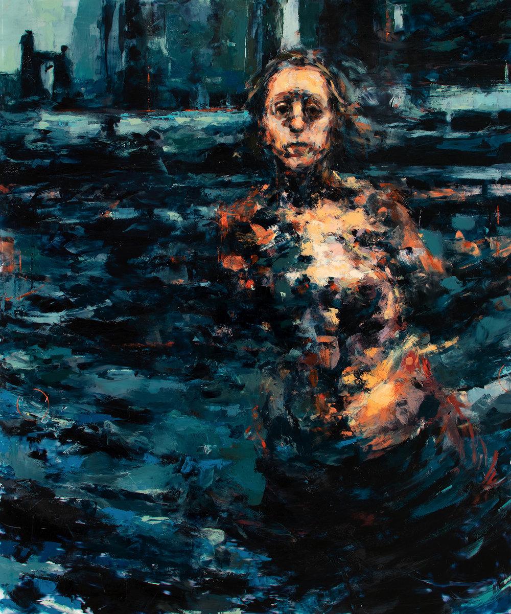 """'Testimony', oil on plexiglass, 36"""" x 30"""" x 1/2"""", 2018"""