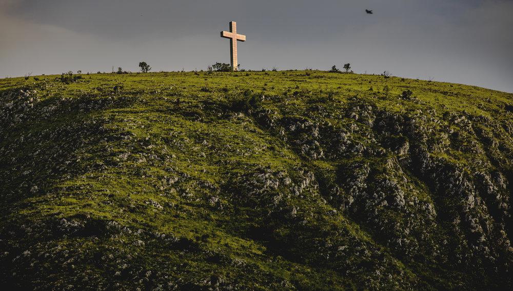 "'Cross over Mostar', 24"" x 36"" (framed), photographed 2017 in Bosnia-Herzegovina"