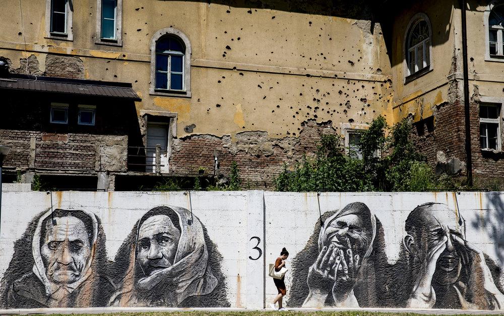 "'Walls of War', 24"" x 36"" (framed), photographed 2017 in Bosnia-Herzegovina"