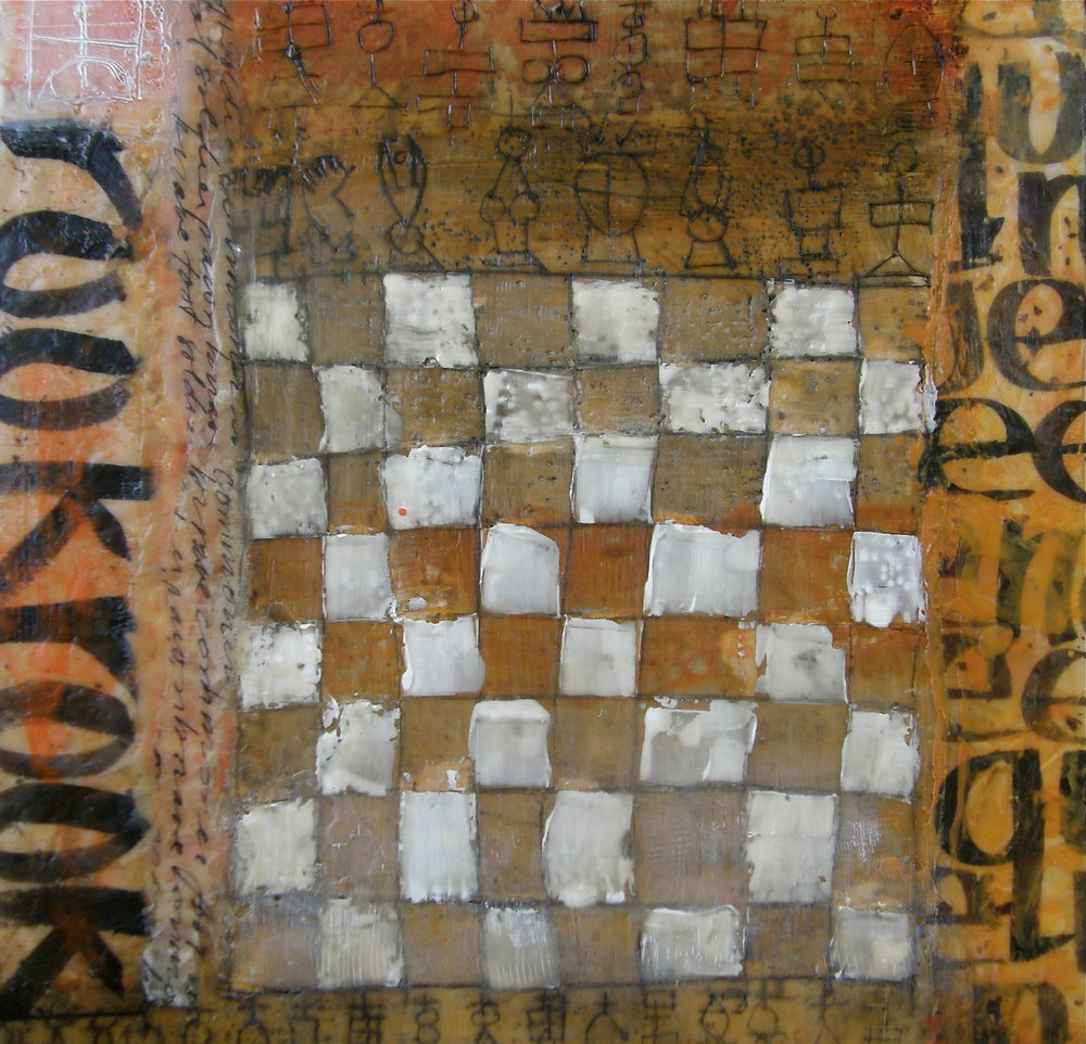 Rook Board, 14 x 14. 2008.  From an exploration of chess pieces, their movement, and the history of the pieces. Encaustic on wood panel, with layers of kozo paper and sumi ink. An early piece with handwriting.  2008-2009 Click to gallery of chess encaustics.