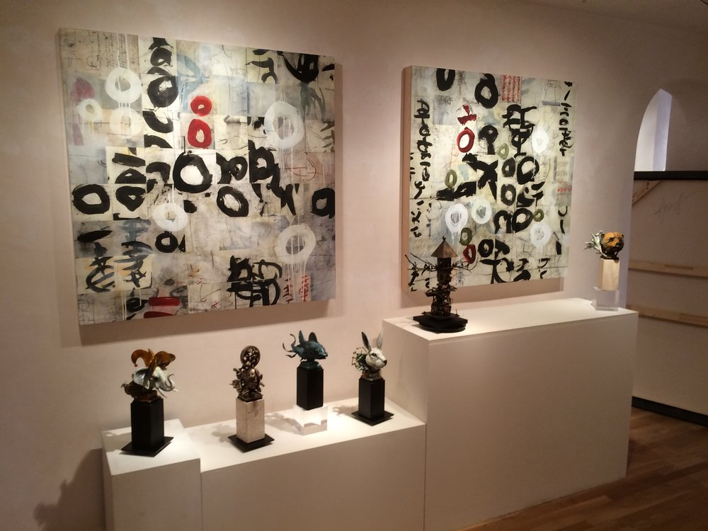 Installation with Ted Gall Sculptures. These are Hexagram III, & IV, available at William Havu Gallery in Denver, CO.