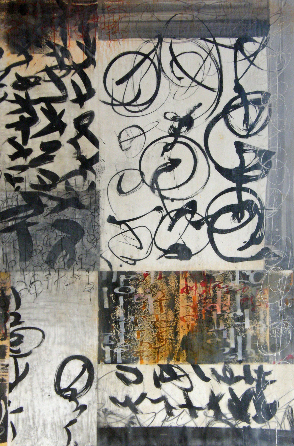 Scrittura Grigio III , 36 x 24. 2013 A series of larger encaustics.   Click to gallery of encaustics.