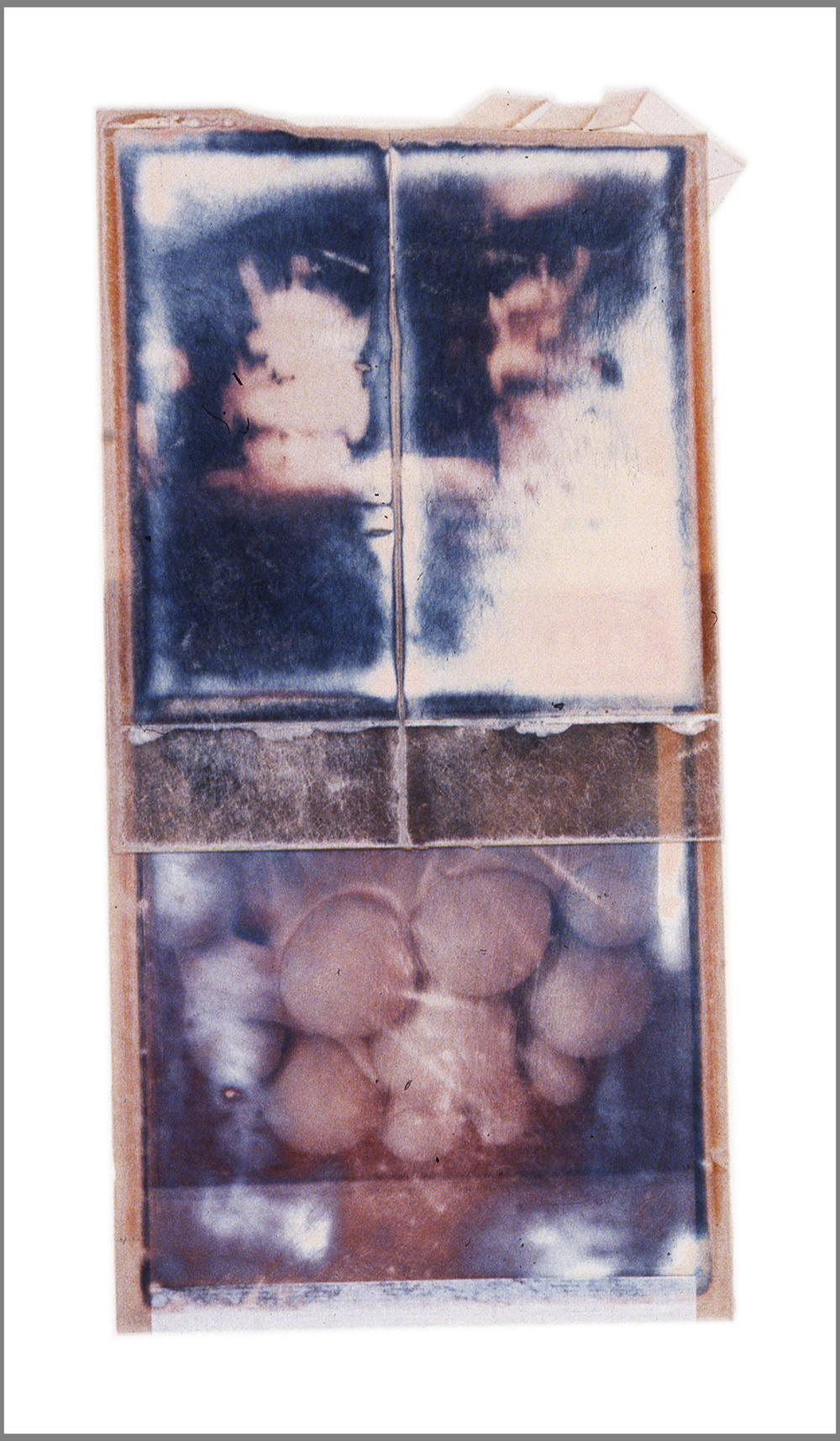 1975  Polaroid SX70 film and mixed media, 6x3.5""