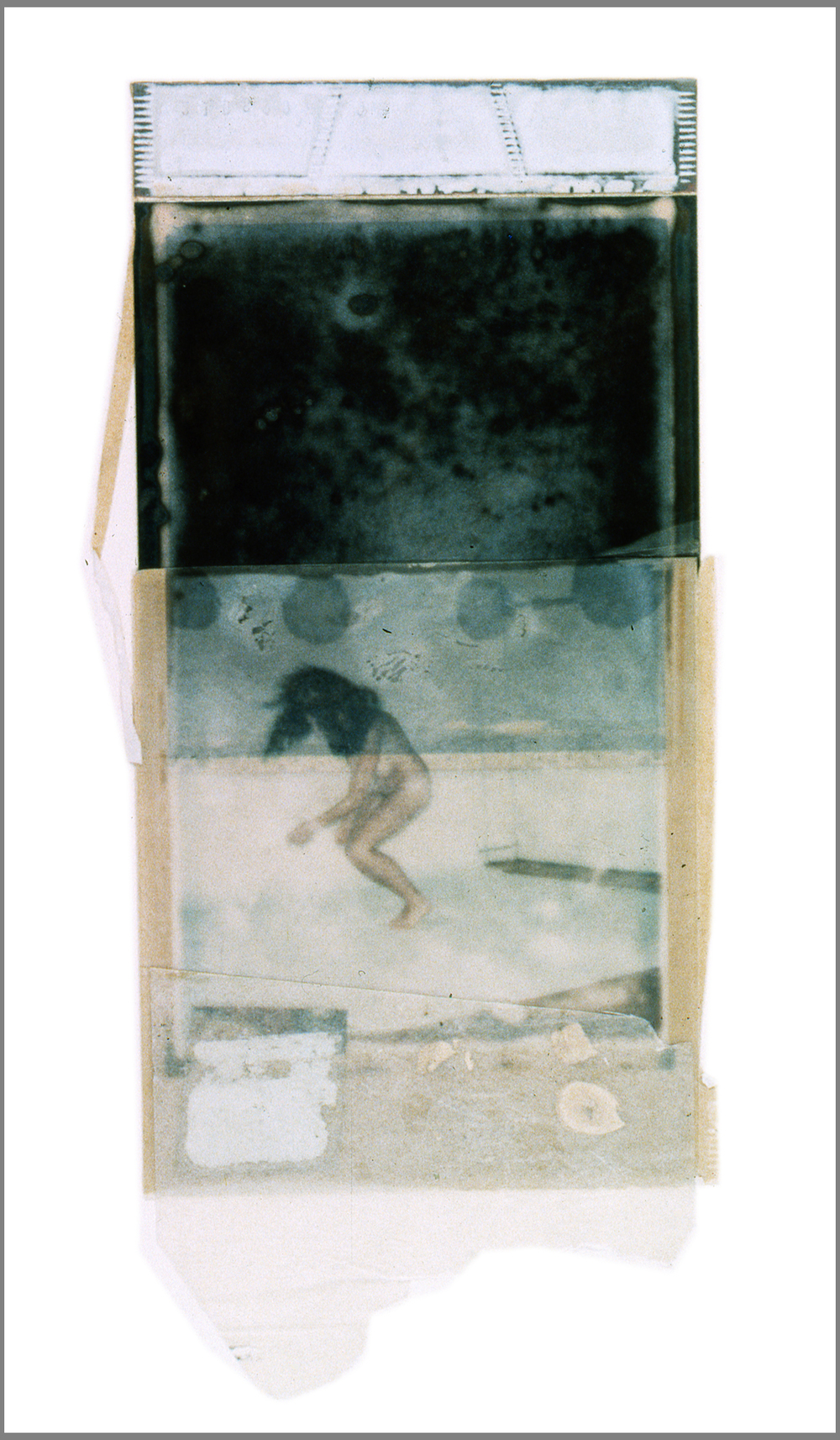 1977 Polaroid SX70 film and mixed media, 9x3.5""