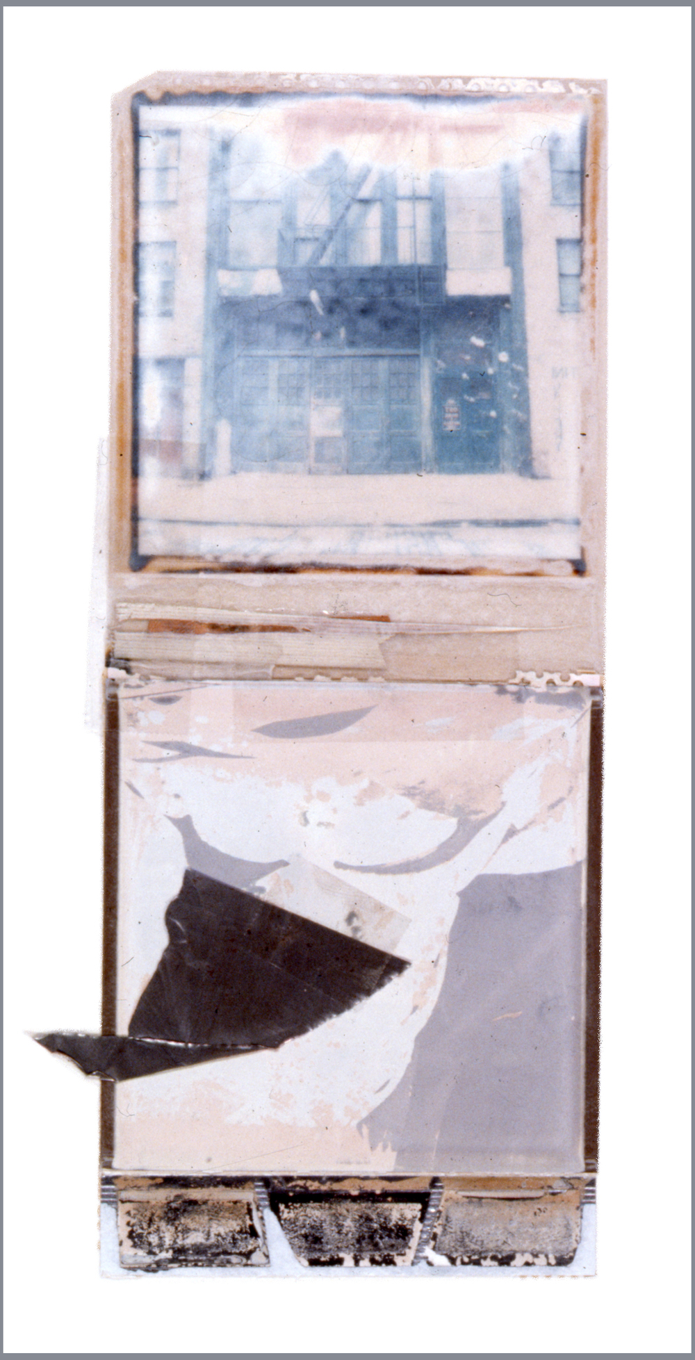 1975  Polaroid SX70 film and mixed media, 8x4""