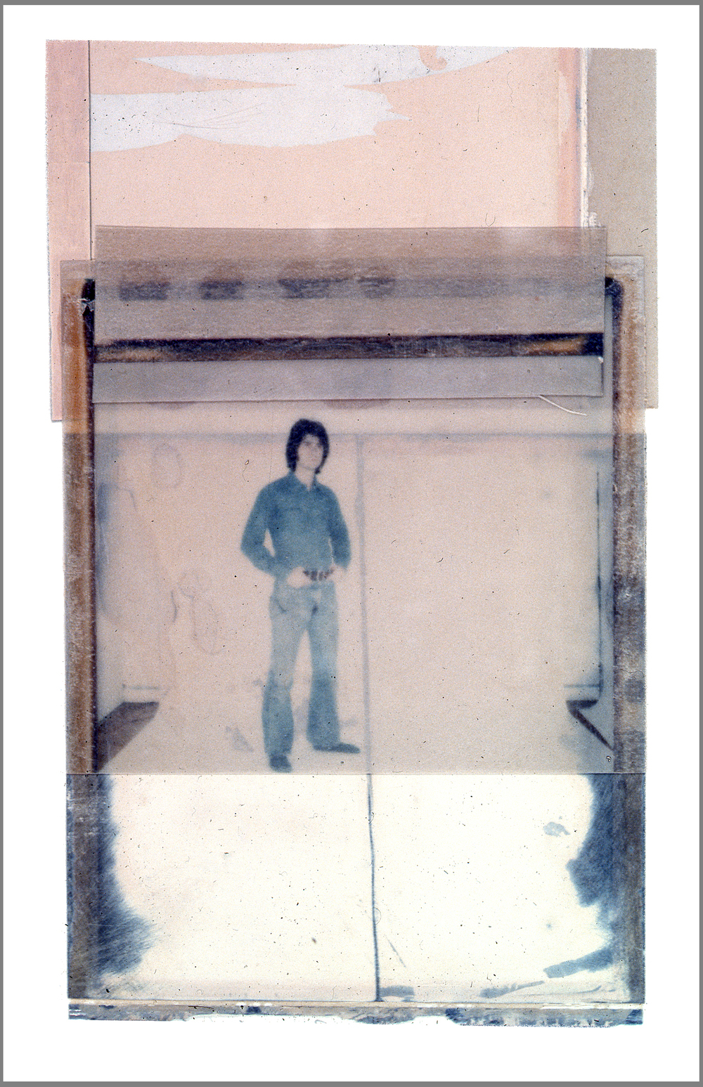 1975  Polaroid SX70 film and mixed media, 6x4""