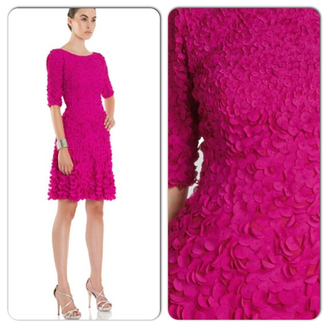 A personal favorite of mine in Knox's store was this dress from Theia covered in gradient fuchsia flower petals.
