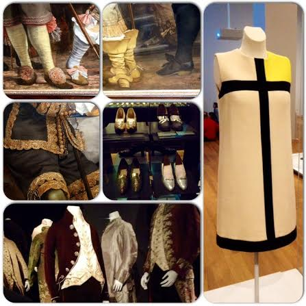 Top row & middle left, both Vermeer and Rembrandt included some of the elaborate ensembles of the time in their paintings. The rest of the pictures show actual clothing items on display in the Rijksmuseum, including, on the right, one of Yves Saint Laurent's classic shift dresses.