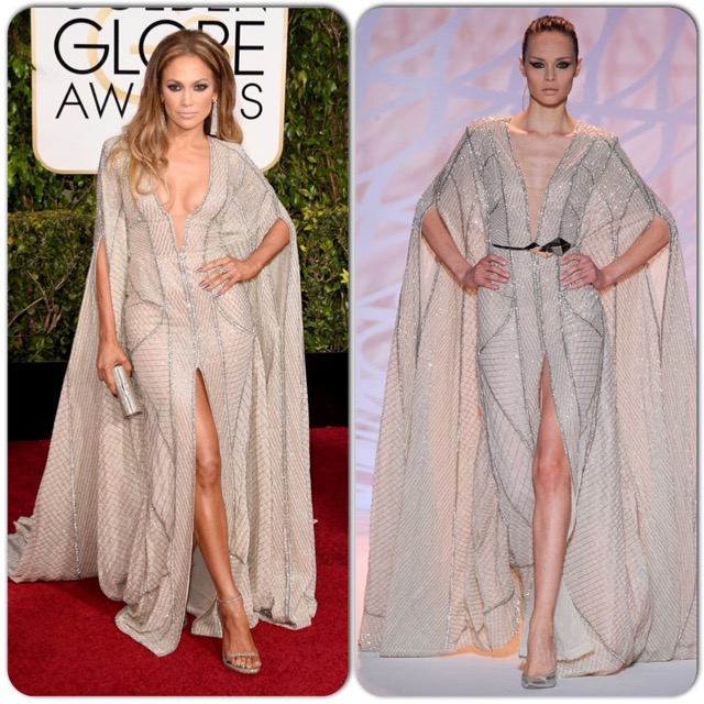 I hesitated putting JLo on the list because I've seen this over-the-top look from her before. However, this diva IS over-the-top, so the look is fitting and she does look amazing. Plus, she's wearing one of my favorite red-carpet designers (see the runway version on right). So she made the cut. BUT...where was an on-set stylist when you needed one to fix the wardrobe malfunction going on around her cleavage? I'm glad she avoided a nip slip, but it looks like a painful poke.