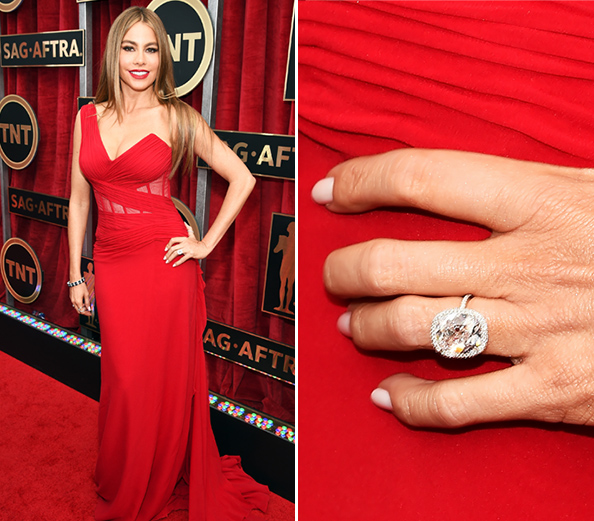 In a gown that showed off her jaw-dropping figure, Vergara and hunky fiancé Joe Manganiello definitely took the prize for Best Looking Couple. And check out that engagement ring!