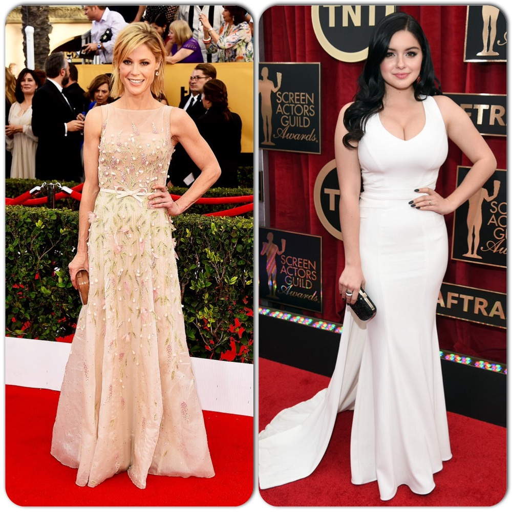 As in the 1976 classic Jodie Foster flick, I wanted Julie Bowen and her Modern Family daughter Ariel Winter to switch places for the night. Bowen's sweet pastel floral appliqué Georges Hobeika Couture gown seemed much too juvenile for the 44-year-old, while 16-year-old Winter looked well beyond her years in a Zac Posen number, rockin' those curves and cleavage! To be fair, small-framed Bowen doesn't have near the figure to pull off Winter's dress, and Winter's full figure wouldn't look right in Bowen's dress...but nonetheless I would've liked to see both of them in something more age appropriate.