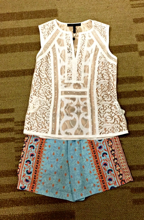 I love mixing prints and textures. This BCBG top and shorts combo at Belk at The Summit has a a bohemian vibe, but is also simple and polished. One quality I like about shorts is that they are unfussy.