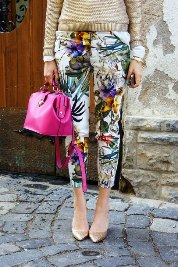 A great example of how to make printed britches office-appropriate: a slim-cut pant with a ladylike heel and something tailored on top. Remember, when it comes to pants length, ankle = yes! Cropped, never! Image credit: crushculdesac.com