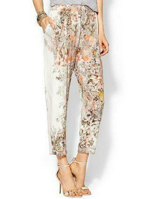 Easy breezy: these silk pants by Haute Hippie in a soft floral are in a silhouette many figures can wear. Image credit: luckyshops.com