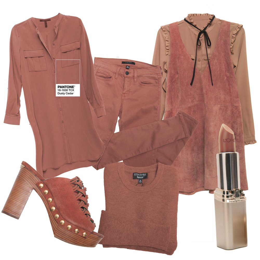 "BCBG shirtdress, $248 (Belk) Flying Monkey jeans, $62 (Von Maur) Free People suede jumper, $168 (Belk) Glamorous blouse, $52 (Von Maur) L'Oreal ""Saucy Mauve"" lipstick (CVS) Banana Republic sweater, $78 Michael Kors ""Westley"" mule, $165 (Belk)"