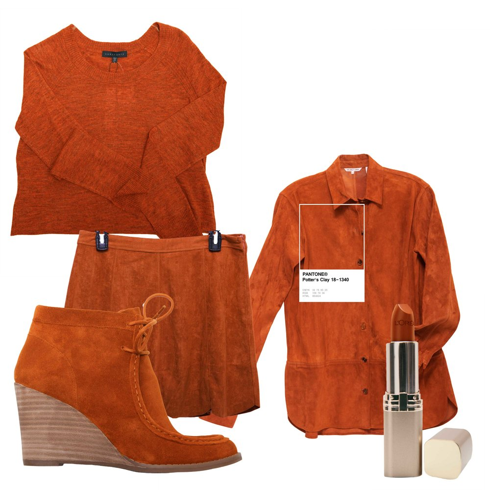 "Sanctuary sweater, $69 (Von Maur) Helmut Lang suede shirt jacket, $995 (Gus Mayer) L'Oreal ""Ginger Spice"" lipstick (CVS) One the Land skirt, $36 (Von Maur) Lucky Brand ""Ysabel"" bootie, $129 (Belk)"