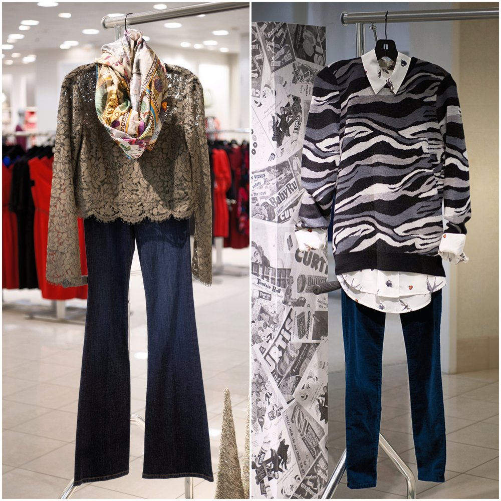 On left: DVF Yeva olive top ($328), Etro scarf ($485), Frame Sutherland flare jean ($209). On right: Equipment Signature blouse in Nature White Multi ($268) and Ondine sweater ($298), AG Super Skinny Midrise in Emerald velvet ($198). All from Saks Fifth Avenue.