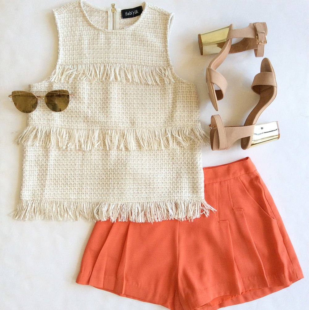 For interest & depth, I think outfits should have either a textured or printed element. I love this ladylike bouclé top paired with a pop of bold color, but it would look equally as good with white jeans for a sleek, monochromatic effect. Summer-staple nude sandals dress up the look.