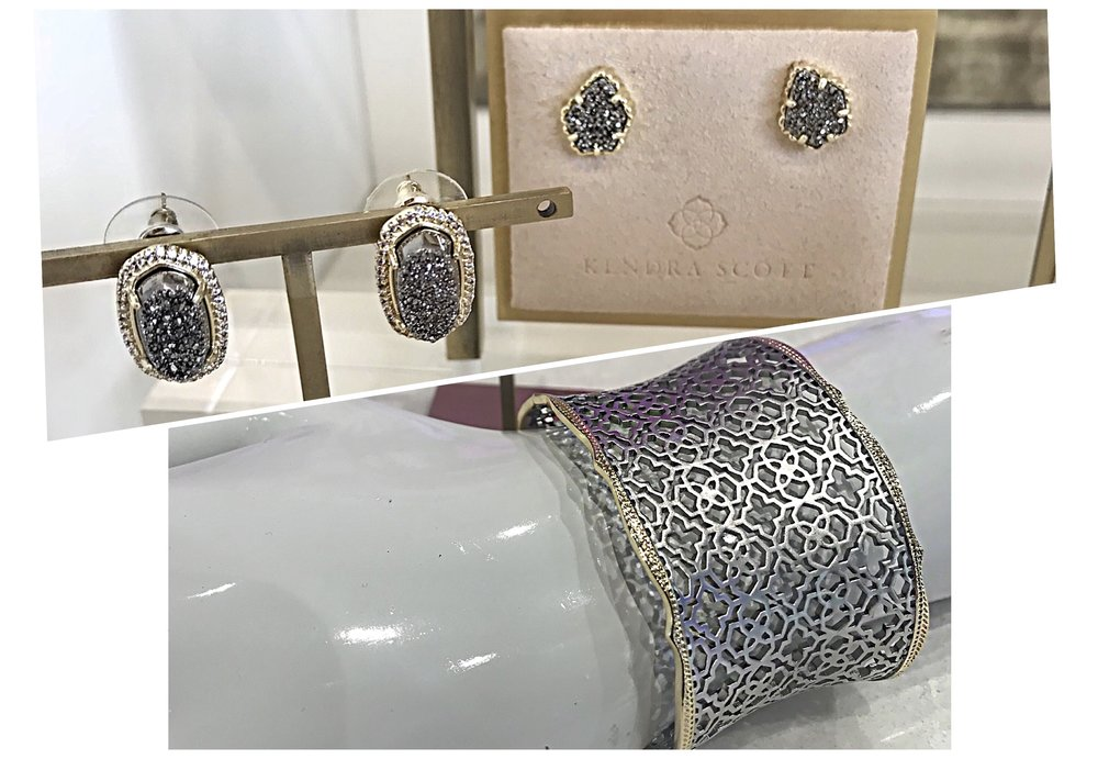 Clockwise from left:    ELLIE GOLD STUD EARRINGS IN PLATINUM DRUSY ,  TESSA GOLD STUD EARRINGS IN PLATINUM DRUSY , and  CANDICE SILVER CUFF BRACELET IN SILVER FILIGREE MIX