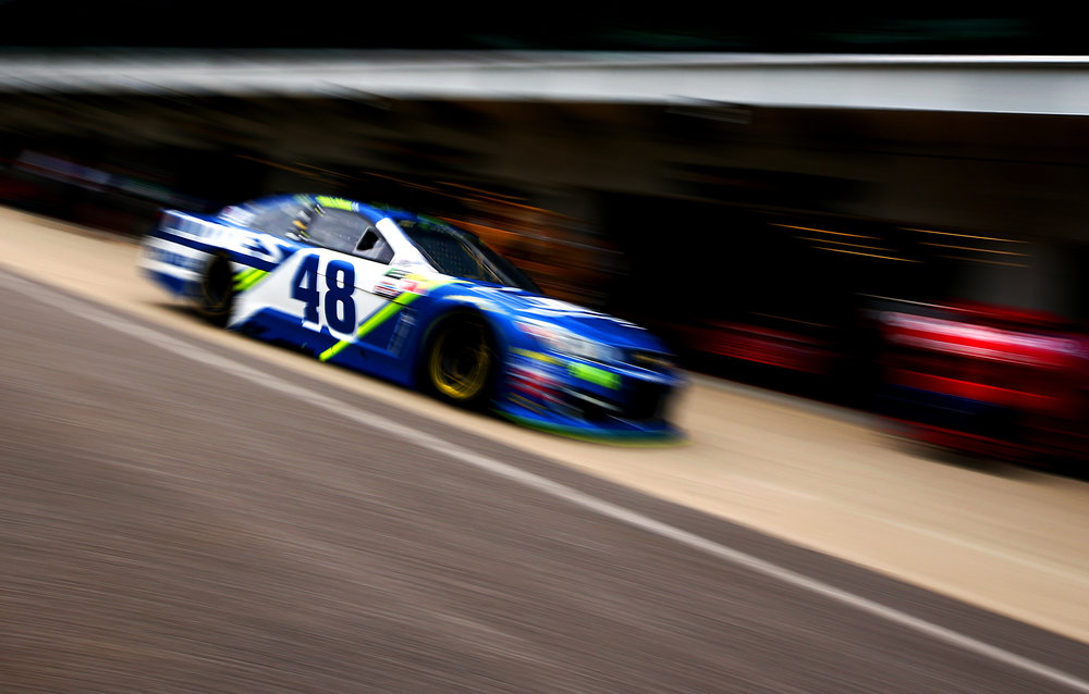 INDIANAPOLIS, IN - JULY 22: Jimmie Johnson, driver of the #48 Lowe's Chevrolet, drives through the garage area during practice for the Monster Energy NASCAR Cup Series Brickyard 400 at Indianapolis Motorspeedway on July 22, 2017 in Indianapolis, Indiana. (Photo by Tim Bradbury/Getty Images)