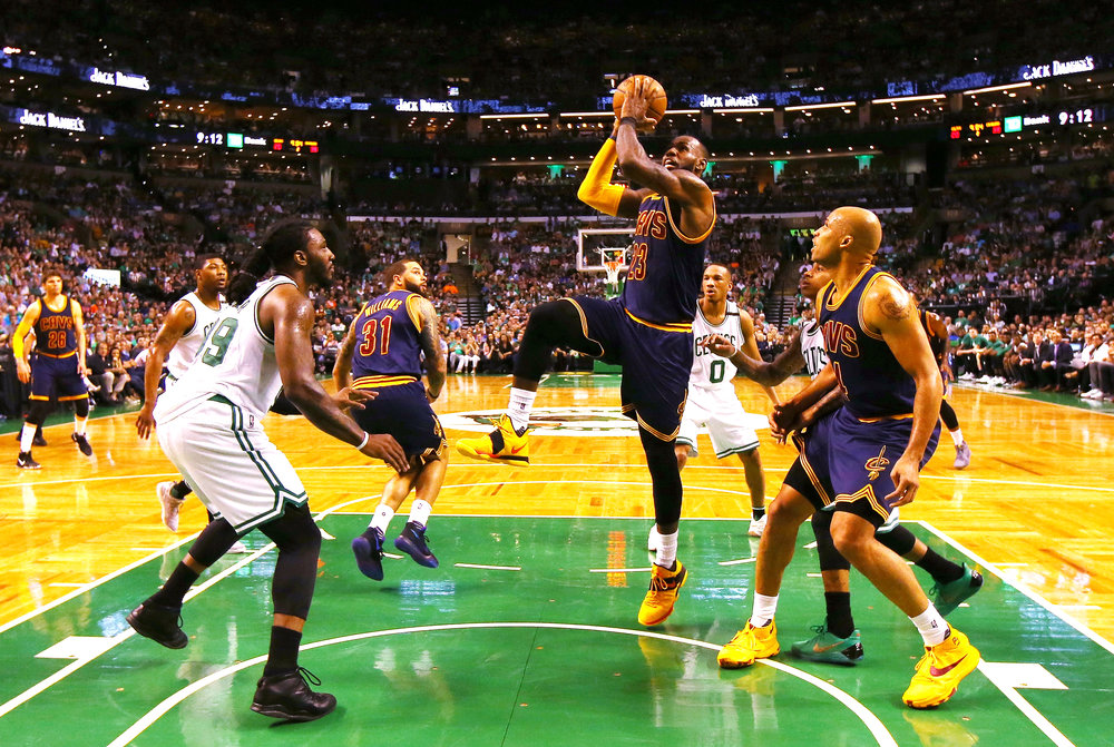 BOSTON, MA - MAY 19: LeBron James #23 of the Cleveland Cavaliers drives to the basket in the first half against the Boston Celtics during Game Two of the 2017 NBA Eastern Conference Finals at TD Garden on May 19, 2017 in Boston, Massachusetts. (Photo by Tim Bradbury/Getty Images)